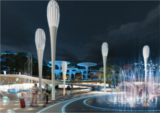 Purifying trees will reduce heat and provide fresh air amidst the multi-use pavilions.