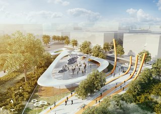 Orange pathways are an homage to 19th-century railway tracks built by the French. Solar trees angle towards the sun, soaking its rays and providing power and WIFI to park-goers.