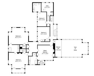 A floor plan of the second level. Five large bedrooms and three full bathrooms run throughout the space.