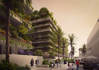 The three buildings—a hotel and two residential towers—will host hundreds of plants and trees. The project will act as a giant air filter for the city.