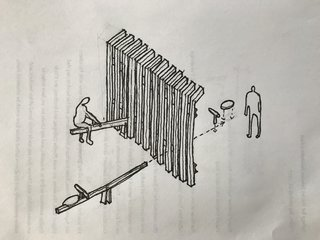 A sketch imagines how the teeter-totters would be installed between the metal fencing.