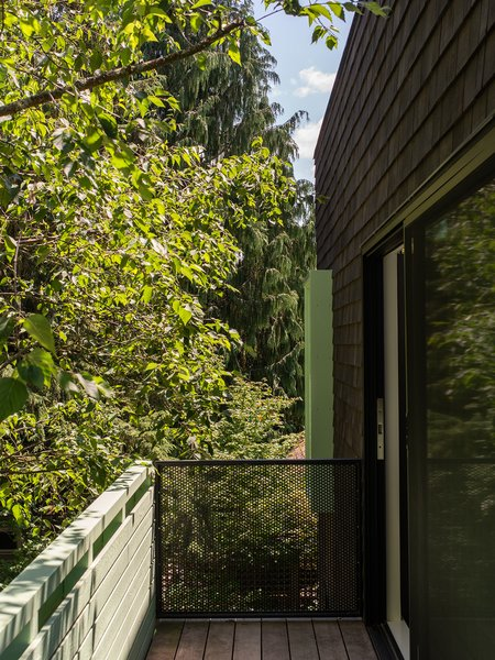 The cantilevering deck off of the master suite.
