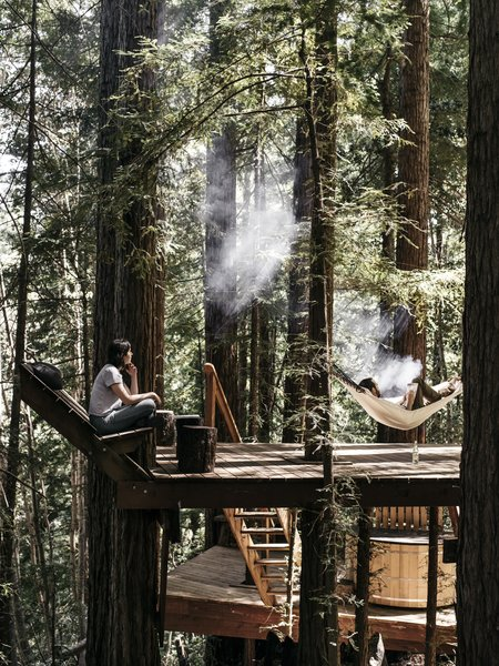 To date, the pair and their pals have built a compound complete with sheds, tree decks, a pavilion, a wood-fired hot tub, an outhouse, an outdoor shower, and, now, a redwood cabin where an ever widening network of friends gather for skill-sharing workshops and events.