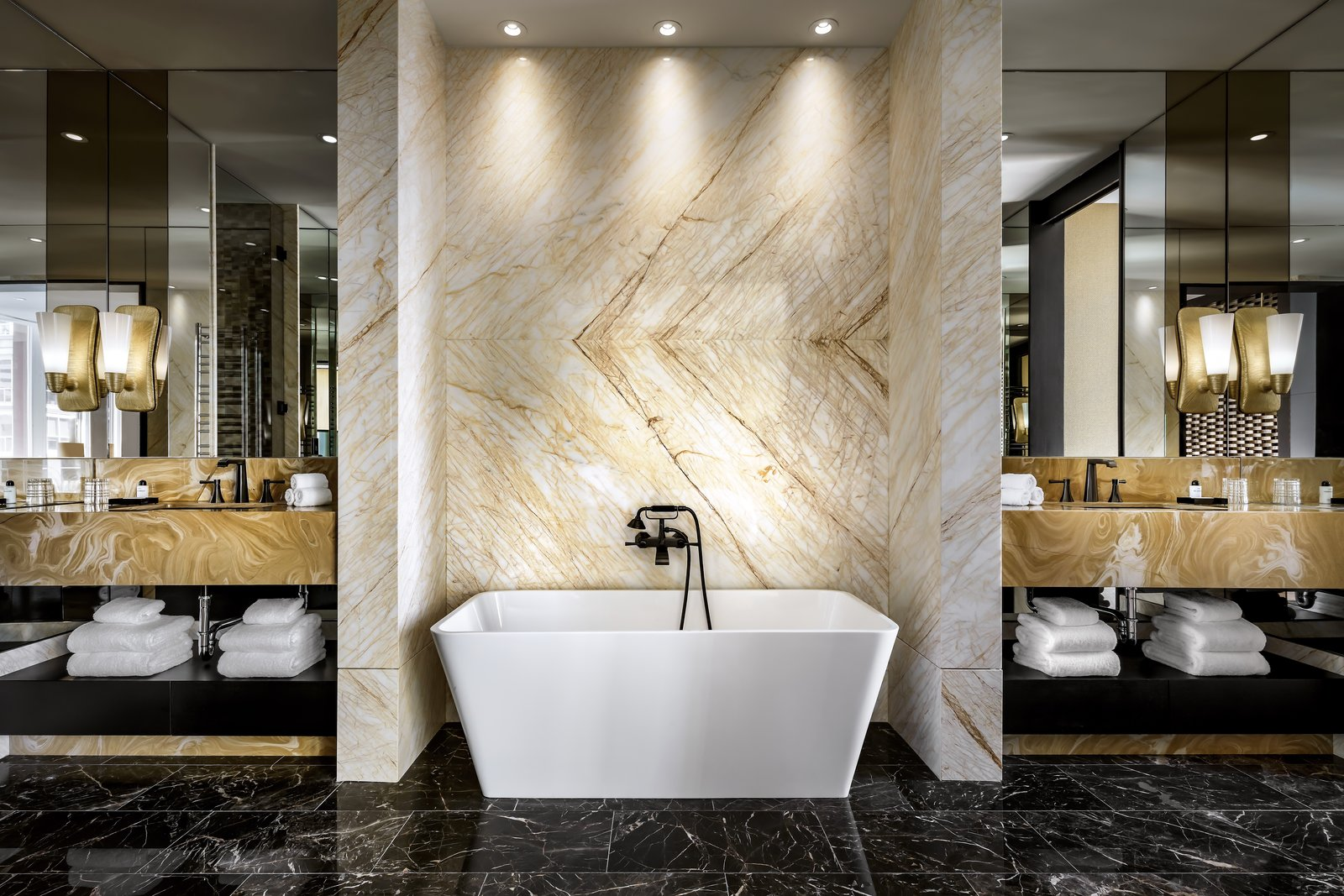 Bisha Suite bathroom with golden spider marble