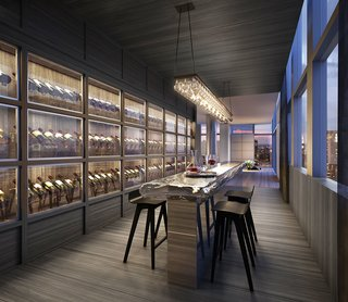 A wine tasting area offers temperature-controlled storage for dozens of bottles.