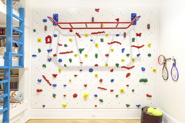 A climbing wall and monkey bars ensure that the kids have plenty of space to goof off.