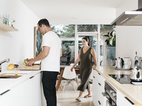 The kitchen was redone in 2019, designed by Brooke and Kyle.