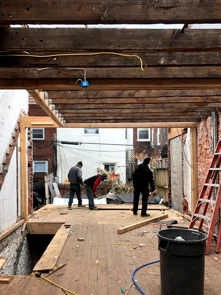 Before: while the couple preserved the front facade, they tore down the rear exterior wall.