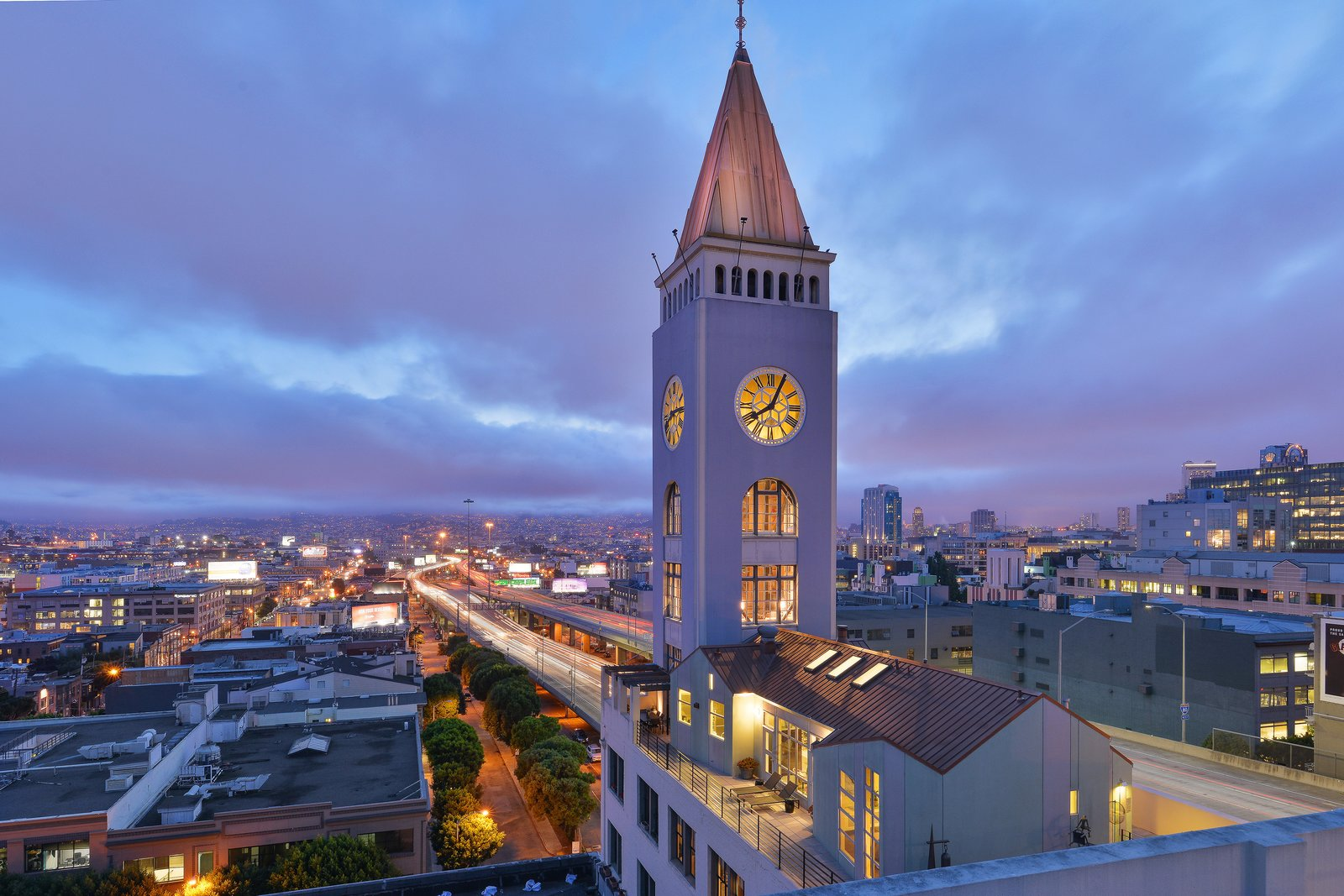 Once the sun sets, the Clocktower Penthouse serves as a beautiful beacon of light.