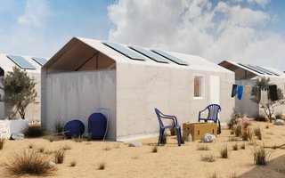 The shelters are made from an advanced concrete composite that is lightweight, durable, and three times as as strong as traditional concrete. Sheets of the material can be draped over snap-together metal framing, and then hardened in place when water is added.