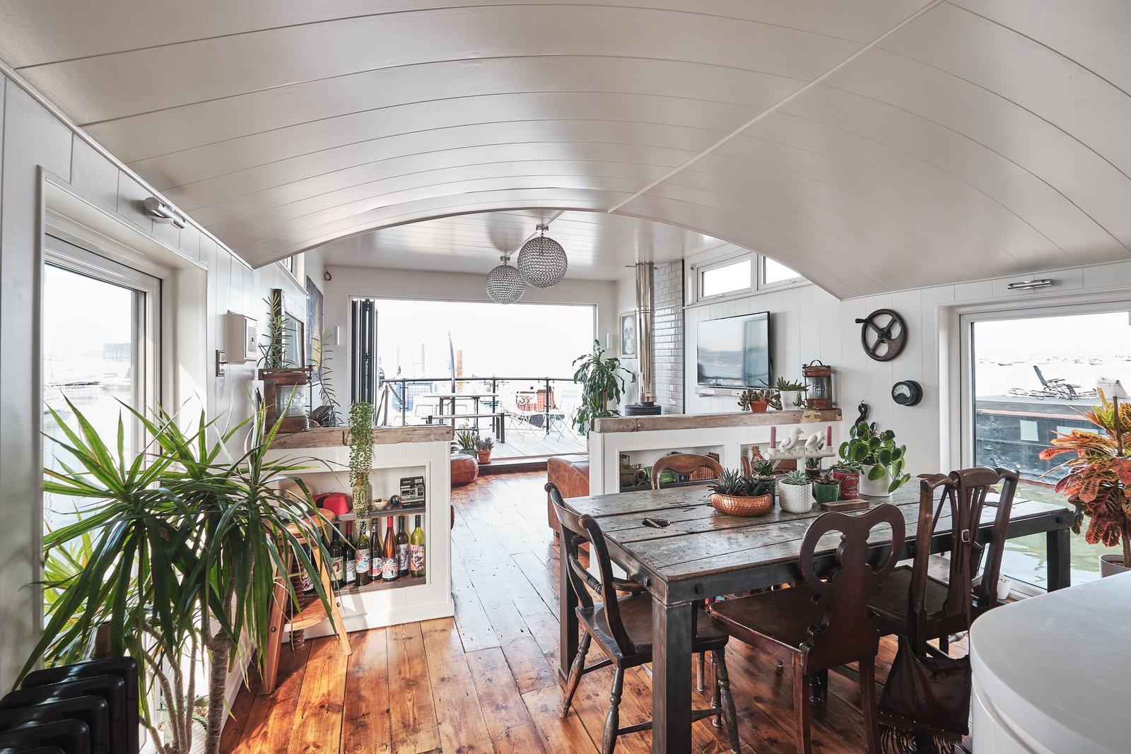 Gosport double-decker houseboat living room