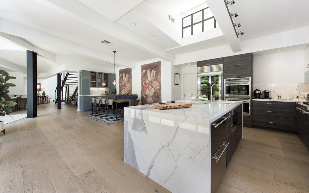 Lea Michele's Brentwood home open kitchen and dining