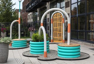 Launched during Detroit Month of Design, <i>ARCADE </i>is an installation by Fernando Bales and Elise DeChard that activates the courtyard of Simone DeSousa Gallery and its adjacent store, Edition. The concrete arches were cast in corrugated irrigation tubes.