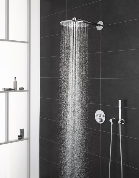 GROHE SmartControl provides a single trim for the control of up to three water functions—such as a rain shower, jet shower, and hand sprayer.