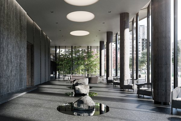 Black, gray, and monolithic, this communal space has a solemn air.