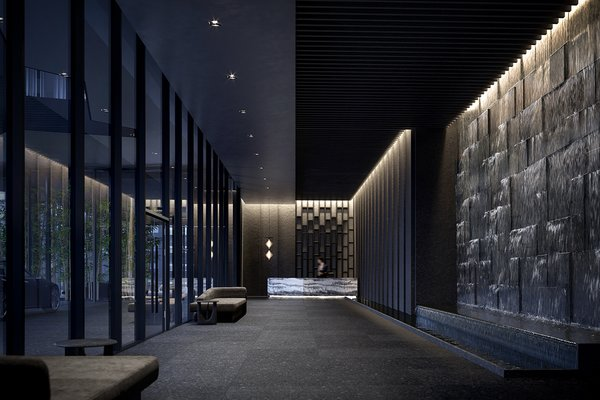 The foyer is ominous and rigid, but flowing water throughout the building adds energy and movement.