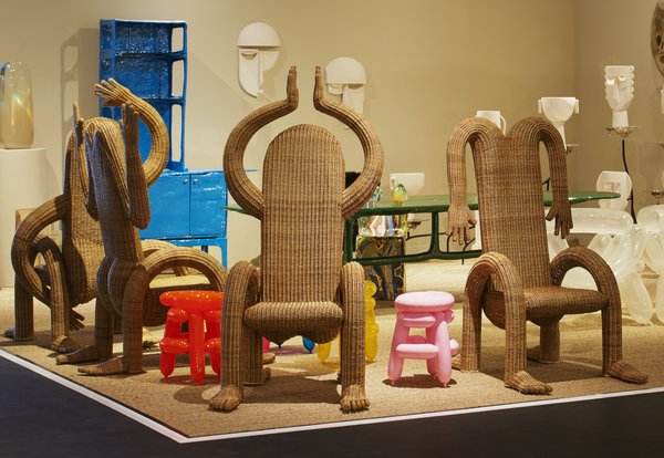 Designer Chris Wolston's expressive dining chairs at Future Perfect.