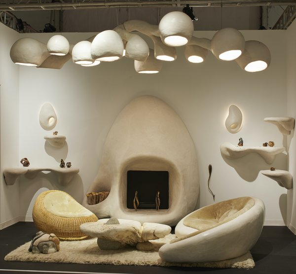 New York gallery R & Company's booth features work by designer Rogan Gregory, including an impressive fireplace.