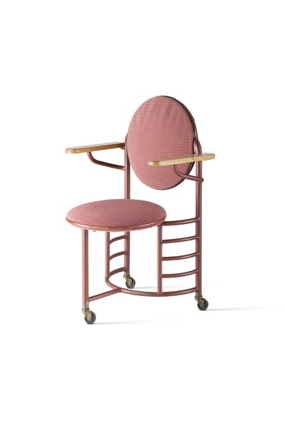 Frank Lloyd Wright designed Johnson Wax's Administration Building in the 1930s, and with it the furnishings—including this armchair set on casters.