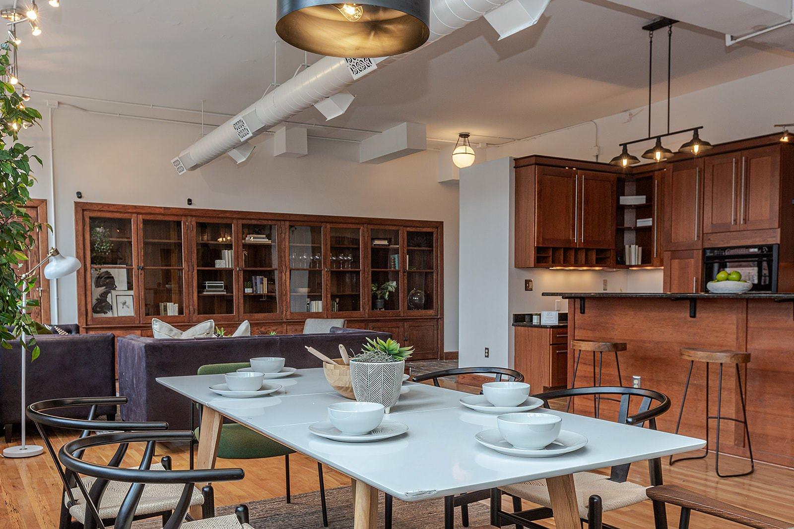 Leland Lofts Detroit apartment dining room