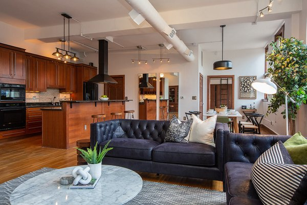 Conveniently located near downtown Detroit, Apartment No. 39 is the latest Leland Lofts condo to hit the market. Offered for $324,000, the 1,360-square-foot space features a spacious open layout and was recently treated to a top-down renovation. Restored hardwoods run throughout.