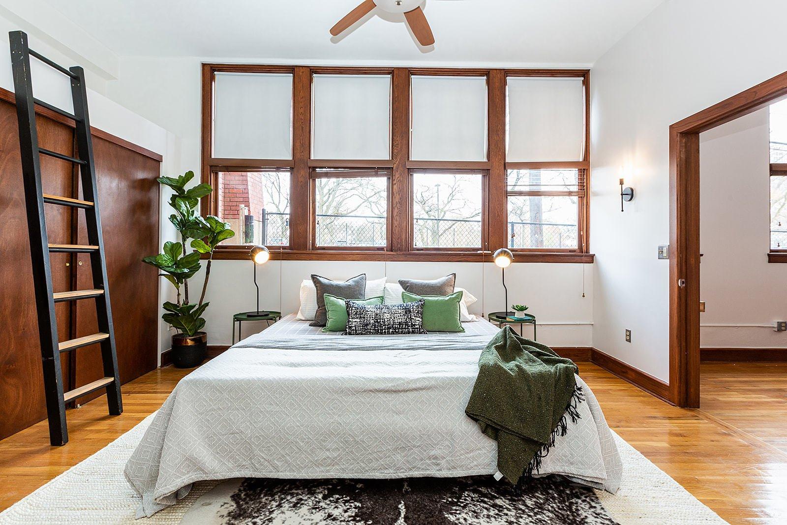 Leland Lofts Detroit apartment bedroom