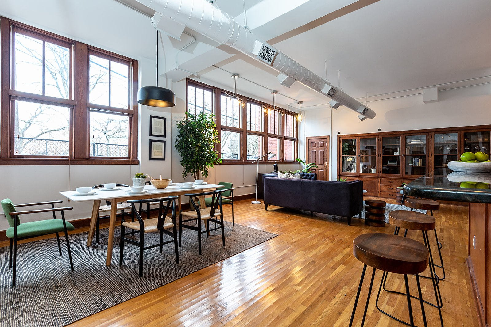 Leland Lofts Detroit apartment dining