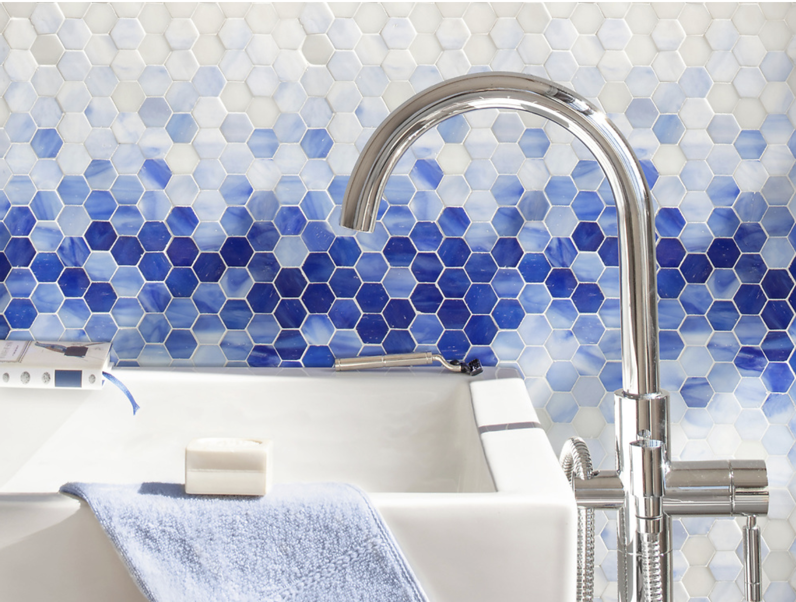 New Ravenna's Hex Mist water-cut jewel glass mosaic.  Photo 4 of 7 in Trend Report: Colors of 2020