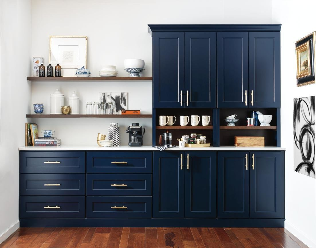 MasterBrand offers its Omega-brand Renner Shaker cabinetry in Maritime, Naval, and Blueberry.  Photo 5 of 7 in Trend Report: Colors of 2020