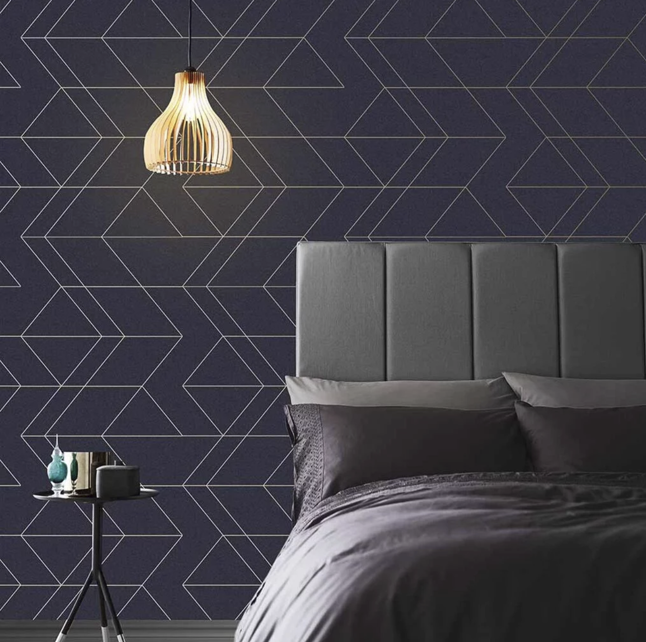 Graham & Brown's Balance wallpaper in navy and gold sports an attention-grabbing geometric pattern.  Photo 6 of 7 in Trend Report: Colors of 2020