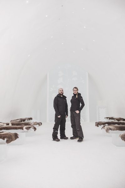 Malmö-based design duo Kauppi & Kauppi were tapped to design the main ceremony hall of Icehotel #30. The chapel-like room is adorned with images of ginkgo leaves—a symbol of love and longevity. The 30 pinpoints of light on the ceiling represent each year of Icehotel's history.