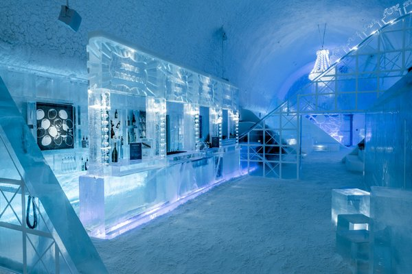 Just inside the lobby of Icehotel 365 sits Torneland, a carnival-themed bar that serves champagne in ice goblets by night and offers ice sculpting classes by day. Designed by Luc Voisin and Mathieu Brison, the frozen funhouse won't melt in spring—it'll be open to guests for the next several years.