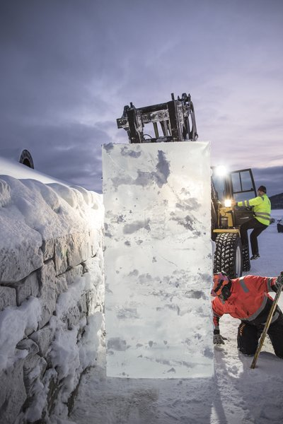 Construction of the winter portion of Icehotel took nearly two weeks.