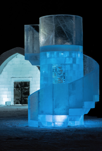 Designed by Jens Thoms Ivarsson and Mats Nilsson, the blocky sculpture outside of Icehotel #30 echoes brutalist architecture.
