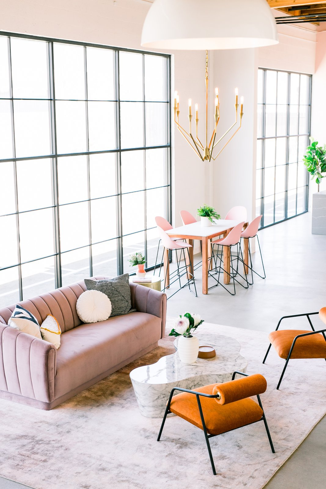 Windows, Picture Window Type, and Metal Create & Cultivate Clubhouse-Ginny MacDonald  Photo 3 of 10 in The Create & Cultivate Clubhouse Takes Millennial Pink to the Next Level