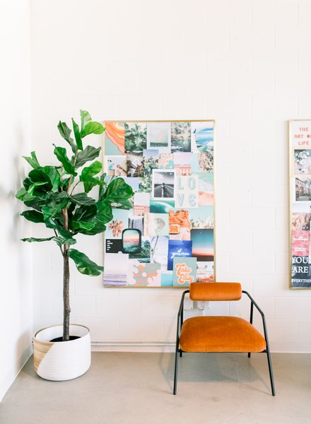 Throughout the office, photos or artwork add to the creative atmosphere. Johnson believes