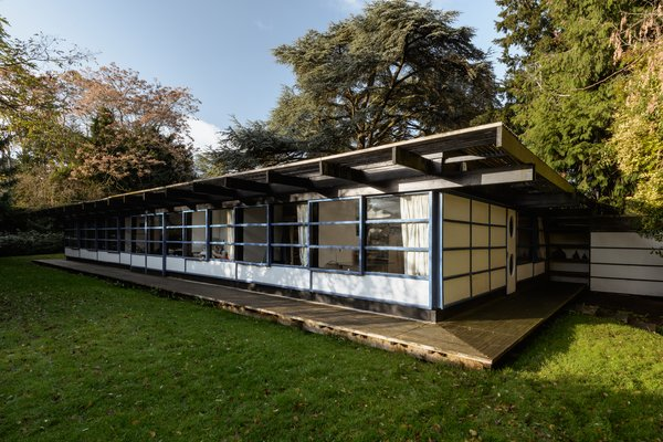 Architect Syd Furness built this four-bedroom home in 1979 for his family. Set within a clearing at the back of the property, the single-story design remains one of the most outstanding examples of modernist architecture in Cambridge.