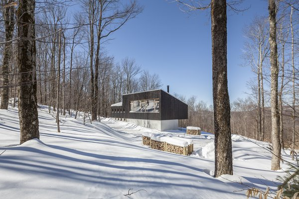 The home's charred-cedar rain screen facade blends in with the forested 15-acre site.