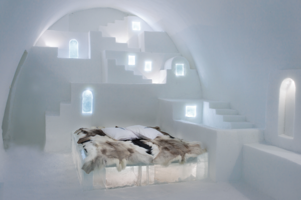 White Santorini, by Haemee Han and Jae Yual Lee, brings the easygoing, warm architecture of Greece to the frozen landscape.