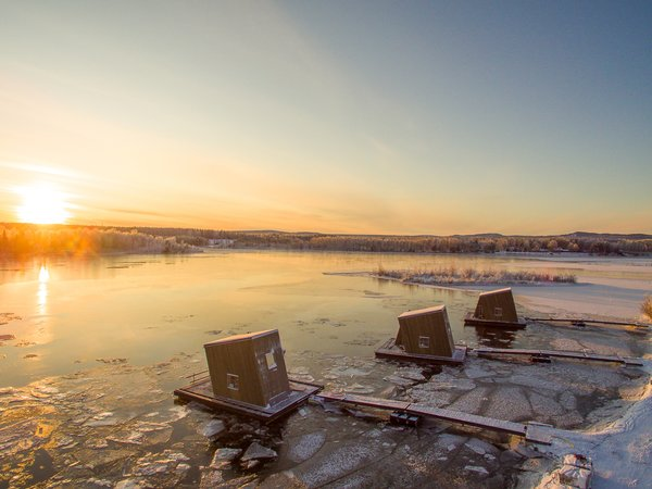 Lapland sees little to no daylight in the winter months. Here, the sun makes a brief appearance.