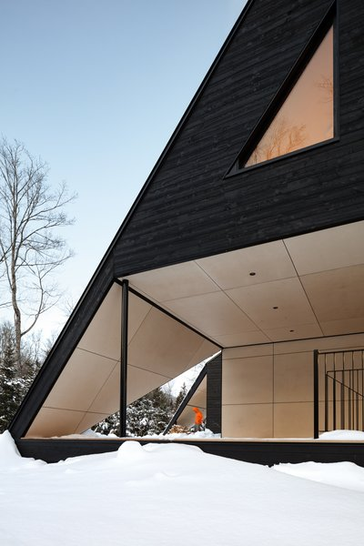 Seemingly carved out of the sloping roofline, the terrace is clad in contrasting birch plywood.