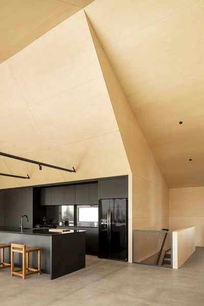 Black kitchen cabinetry and appliances reinforce the interior's contrasting color palette. The double-height space also emphasizes the structure's A-frame design with soaring ceilings.