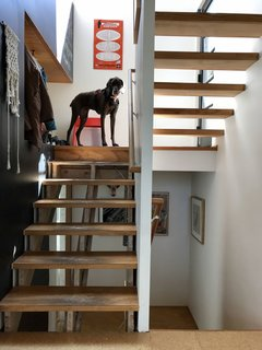 """SHED Architecture's Prentis Hale shares a capture of his home, where a cutaway by the stairs serves as a storage nook. """"Within a small space, everything can be reached, seen, heard, and optimized with minimal effort,"""" he notes."""