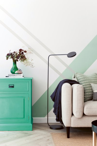 """Washi tape is widely available online. It can be used in varying depths and colors to create a bold, graphic scheme on walls. """"Here we have added layers to create a fresh take on a Scandi-industrial vibe for this family home in London,"""