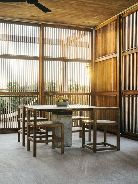 For the dining room, Claudio asked local artisans to create an homage to Donald Judd's Library chairs using Oaxacan materials.