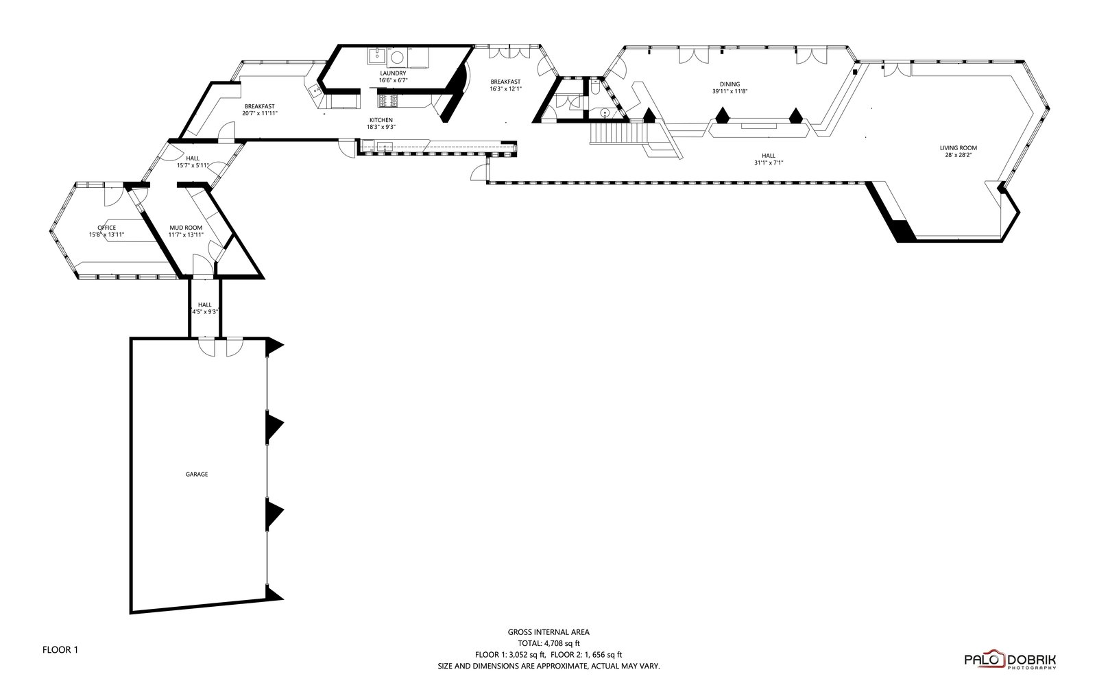 First-level floor plan of the Charles F. Glore House by Frank Lloyd Wright