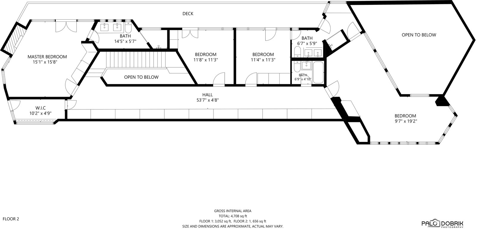 Second-level floor plan of the Charles F. Glore House by Frank Lloyd Wright