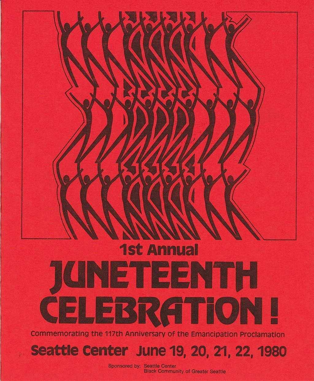 A poster for Seattle's first Juneteenth celebration in 1980 cues up a days-long celebration.  Photo 4 of 5 in Here's What You Need to Know About the Juneteenth Flag