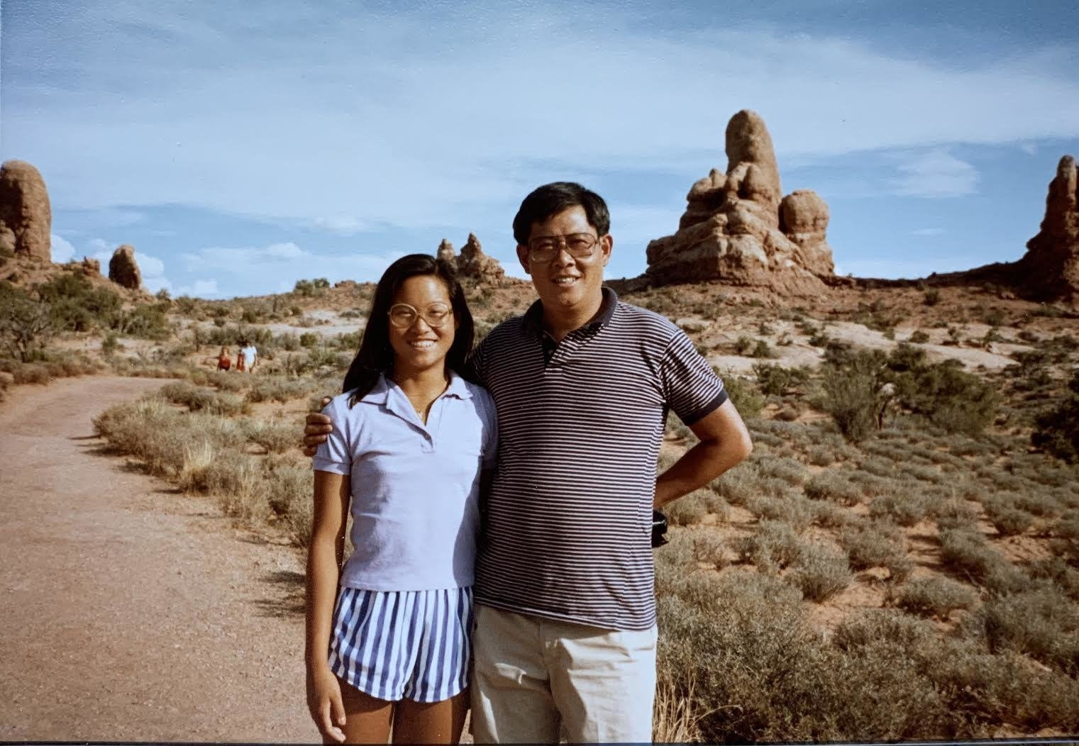 A teenage Katherine Chia and her father, Pei-yuan Chia.  Photo 4 of 17 in 8 Designers and Architects Share the Crucial Lessons They Learned From Dad