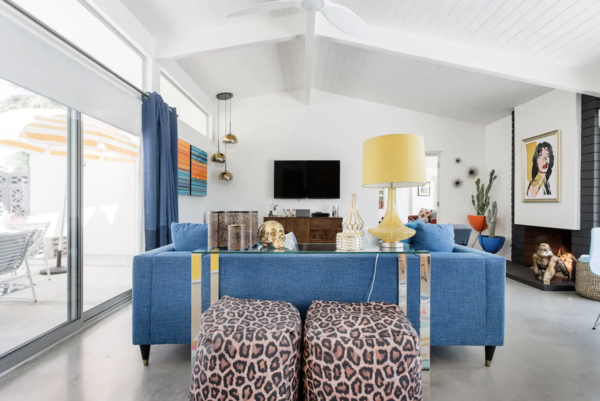 Featured during Palm Springs's Modernism Week, this funky pad embodies a rock-and-roll vibe with Mick Jagger memorabilia living alongside leopard prints, skulls, and pop-inspired colors. Up to six guests can enjoy this three-bedroom, two-bathroom home.